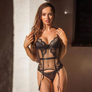 NY-1566 New Amazon Hot Sales Embroidered Lace One Piece Lingerie Sexy Hot Transparent