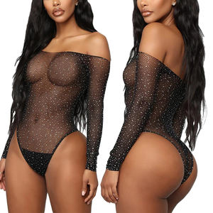 2021 See Through Temptation Bodysuit Sheer Mesh Hot Transparent Shiny Sequin Fishnet Women Rhinestone Sexy Lingerie