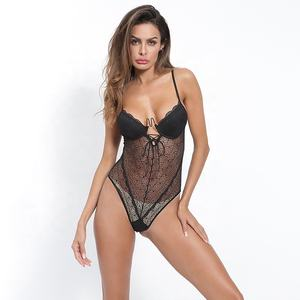2021 Bound chest strap hollow deep V top lace sexy embroidery jumpsuit lingerie sexy hot transparent