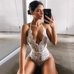 H1314 2021 New Fashion red Summer and autumn black Halter tie Sexy erotic Halter Lace white one piece backless lingerie