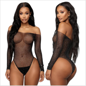 2020 See Through Temptation Bodysuit Sheer Mesh Female Hot Transparent Shiny Sequin Fishnet Women Rhinestone Sexy Lingerie