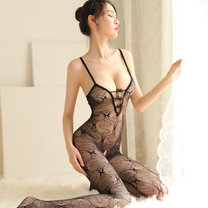 Hot Transparent Lace Lingerie Teddy Stocking Bodysuit Sleepwear Sexy Open Crotch And Buttocks Erotic Lingerie For Women