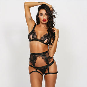 Velsatis Wholesale Women Lingerie Set Sexy Black Lace Ladies Underwear Plus Size Mature Erotic Lingerie