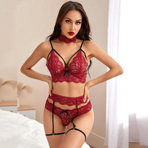 women lingerie set high-end quality new three-point lace sling sexy blouse open file temptation four-piece sexy lingerie