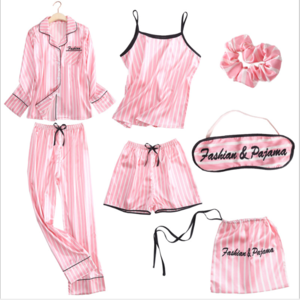 SFY-Y130 new spring autumn stripped sleepwear women long sleeves simulation silk seven-piece pajamas set sexy lingerie