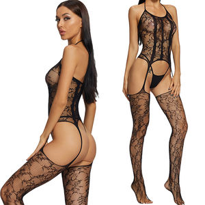 Dropshipping Sexy Lingerie Set Bodysuit Suspender Stockings Transparent Garter Belts Lace Babydoll One Piece Lingerie
