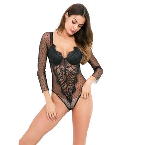 Hot sale low price lace long-sleeved jumpsuit sexy lingerie