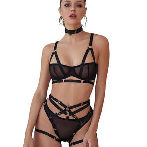 Wholesale high quality lingerie sexy hot transparent lace lingere sexy women lingerie set