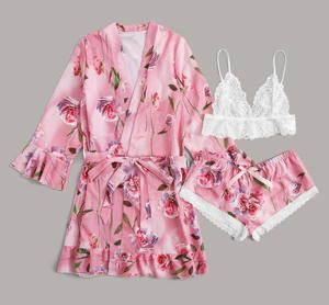 women spring new floral nightgowns flower printed 3pcs set sleepwear satin silk pink lace pajamas set sexy lingerie bra boyleg