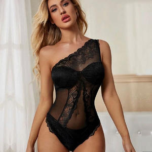Sexy Lingerie Wholesale Hot Vendors Mesh Sheer Underwear Cupped Transparent Halter Lace Tube Top Bodysuit Women Sexy Lingerie
