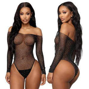 See Through Temptation Bodysuit Jumpsuit Sheer Mesh Femme Hot Transparent Shiny Sequin Fishnet Women Rhinestone Sexy Lingerie