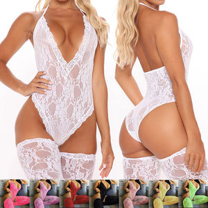 Wholesale 2021 New Red Yellow White Plus Size Underwear Two Piece Corset Feminins Mesh Lace Lingerie Set Sexy Hot Transparent