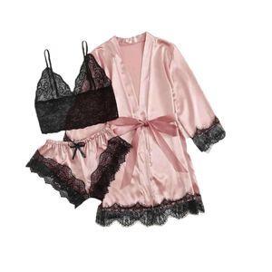 2021 Wholesale Cheap Price Women lingerie silk lace robes Pink Lace Balconette Bralette Set Sexy Lingerie set