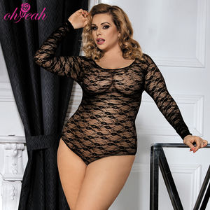 Wholesale lingerie online plus size full sleeve teddy transparente sexy lingerie body suit