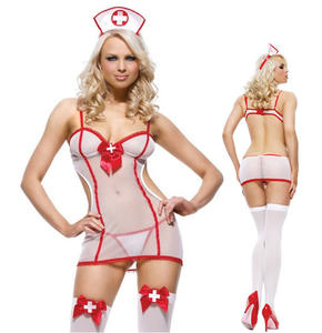 2021 mature hot stripper outfit dancewear Sexy lingerie three-point one-piece nurse mesh nurse role play Lingerie