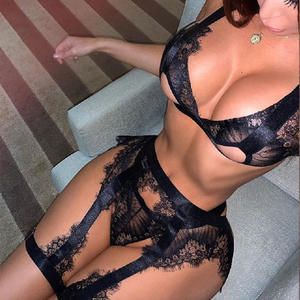 Z0515A Hot sell Lace perspectiv sexy underwear lingerie set hollow out valentines day lingerie ladies sexy transparent underwear