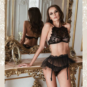 NY-0952 New Amazon Hot Sales 3 Piece Lace Lingerie Sets For Women