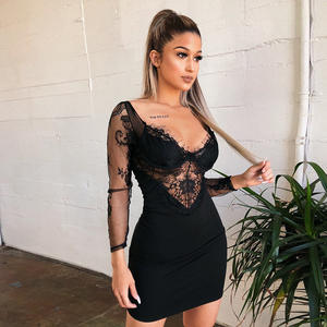 New Customizable Wholesale Lace Long-Sleeved Bag Buttocks Open Back Black Body Suit Lace Set Hot Sexy Transparent Lingerie