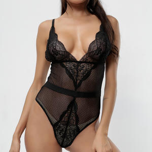 NY-1530 New Amazon Hot Sales Embroidered Lace One Piece See Through Lingerie