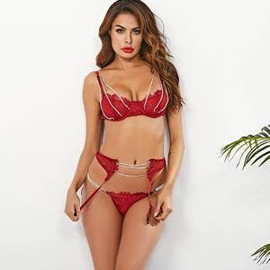 S6072G-1 Best selling high quality diamond women lingrie sets new desingner lingerie underwear hot drilling lingerie transparent