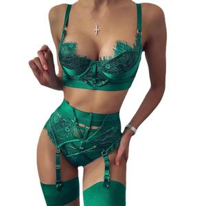 Sexy Hot Fashion Show Women Underwaer Green Red New Lace stitching Sexy Lingerie 2 Pieces Women Sexy Shaper Langerie Set