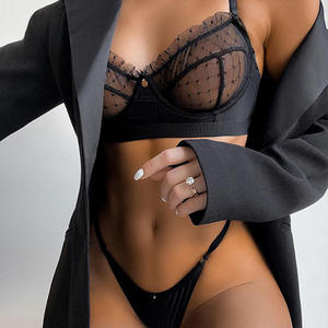 Hot selling Lace transparent sexy bra set underwear wholesale cheap Net yarn lingerie set perspective sexy lingerie