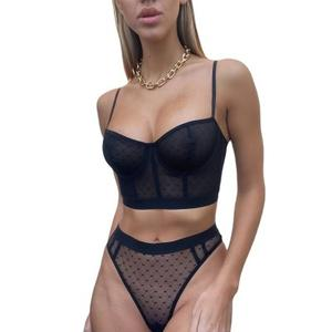 2021 Sexy Thin Underwear Set Women Sexy Baby doll Lace Hollow Out Push Up Lingerie Bra Set Erotic Mesh Sexy Underwear Lingerie