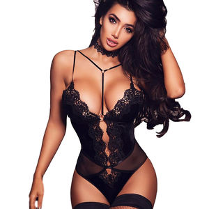 Sexy Ladies Lingerie Vendors Bodysuit One Piece Babydoll Sheer Mesh Teddies Sleepwear Valentines Lingerie Mini Bodysuit