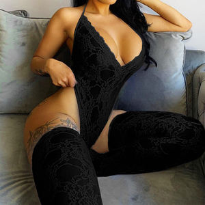 Wholesale 2021 hot sell valentines day 2 piece sexy lingerie Women and lace stockings lingerie set vendors